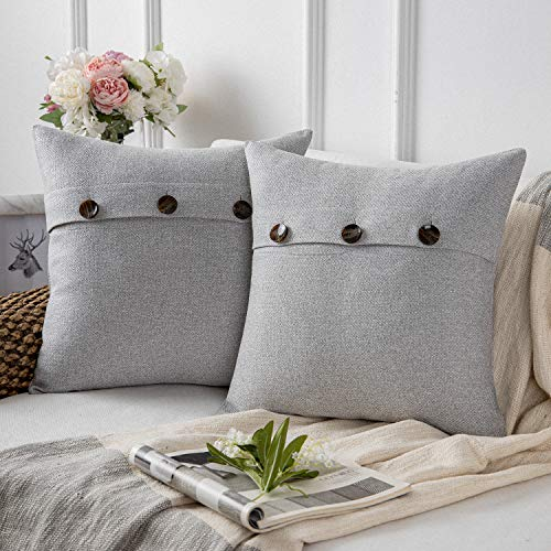 Phantoscope Farmhouse Throw Pillow Covers Triple Button Vintage Linen Decorative Pillow Cases for Couch Bed and Chair Light Grey, 20 x 20 inches 50 x 50 cm, Pack of 2