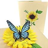 PopLife Cards Mariposa azul y el girasol tarjeta pop-up - todas las ocasiones
