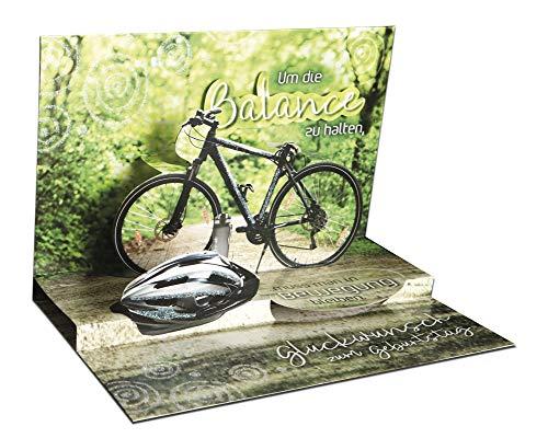3D Pop – UP Karte Geburtstag, mit Glitter, Geburtstagskarte 3D, POP - UP Karten, POP UP Karten Geburtstag, Motiv: Fahrrad