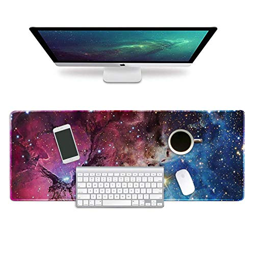 ZYCCW Large Gaming XXL Mouse Pad with Stitched Edge 31.5'x11.8'x0.15' Nebula Starry Mouse Mat Customized Extended Gaming Mouse Pad Anti-Slip Rubber Base Ergonomic Mouse Pad for Computer