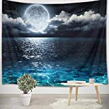 LB Night Sky Ocean Tapestry Full Moon on Sea Tapestry Wall Hanging Fantasy White Cloud Tapestry Watercolor Tapestry Wall Art for Bedroom Living Room Dorm Wall Decor, 59Wx51H inches