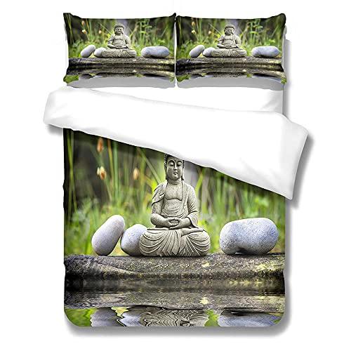 Juego de Funda NóRdica 3D,Zen, Estatua de Buda,Juego de Funda NóRdica con Estampado de Patrones...
