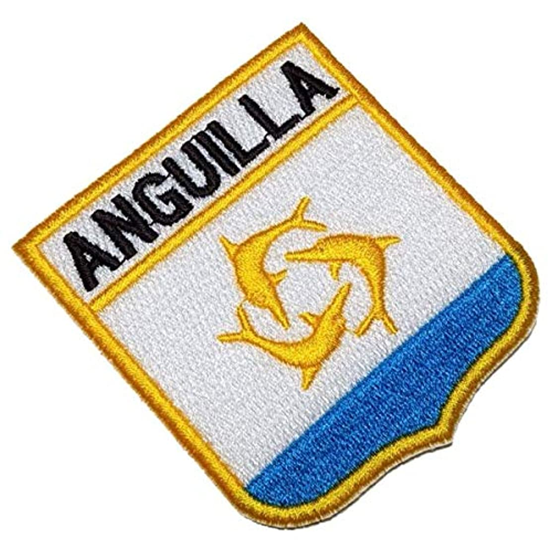 BEIN057T Anguilla Shield Flag Emblem 100% Embroidered Patch Iron or Sew Size 2,68×2,95 in