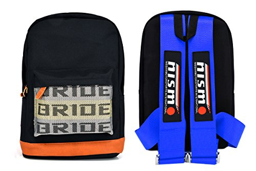 New Bride Racing Backpack with NISMO Power Racing Harness Shoulder Straps BLUE