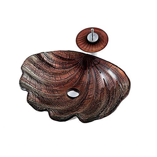 ZSDGY Muschel über Aufsatzbecken, abstraktes gehärtetes Waschbecken in Muschelfarbe mit Wasserfall-Wasserhahn-Set B