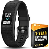 Garmin Vivofit 4 Activity Tracker W/Color Display Regular Fit Black (010-01847-00) with 1 Year Extended Warranty