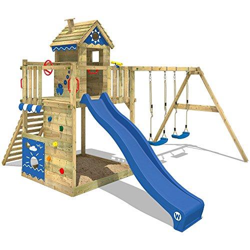 WICKEY Spielturm Klettergerüst Smart Lodge 150 mit Schaukel & blauer Rutsche, Baumhaus mit Sandkasten, Kletterleiter & Spiel-Zubehör