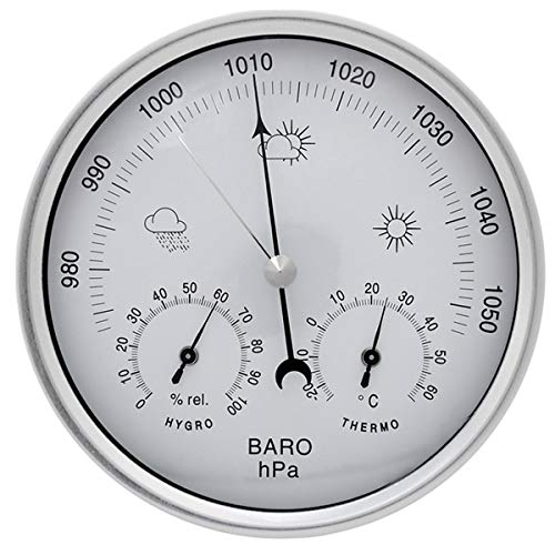 JAOK Analog Barometer with Thermometer Hygrometer, 3 in 1 Weather Station for Indoor and Outdoor,Sainless Steel Frame(Silver)