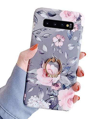 Karomenic Silikon Hülle kompatibel mit Samsung Galaxy S10 Ultradünn Schutzhülle Blumen Blatt Muster Weiche TPU Handyhülle mit Ring 360 Grad Ständer Stoßfest Bumper Case Cover Tasche Schale,#1