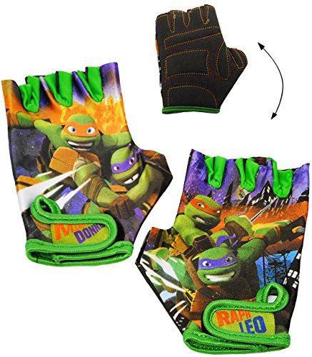 alles-meine.de GmbH Fahrradhandschuhe -  Teenage Mutant Ninja Turtles  - abgepolstert - 4 bis 6 Jahre - universal auch für Roller Dreirad Laufrad / Kinderfahrrad Kinder - mit P..