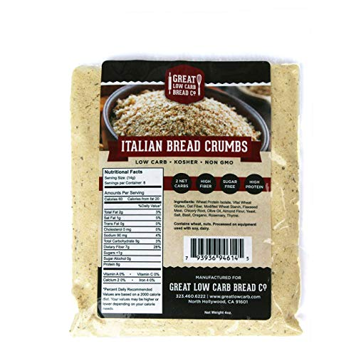 Great Low Carb Bread Company Italian Bread Crumbs, 4 oz Pouch, Set of 2