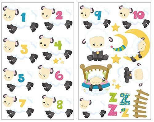 Samunshi® 24x Wandtattoo Schafe zählen Set Wandbilder Kinderzimmer Deko Junge Wandtattoo Kinderzimmer Mädchen Wandsticker Kinderzimmer 2X 16x26cm