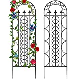 """Amagabeli 2 Pack Large Garden Trellis for Climbing Plants 71"""" x 21"""" Heavy Duty Rustproof Black Iron Plant Trellis for Potted Plant Support Tall Wall Metal Trellis for Rose Vine Vegetable Cucumber GT02"""