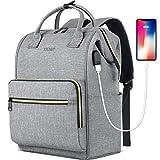 Laptop Backpack for Women Men, Travel Backpack Purse for 15.6 Inch Laptop with RFID Pocket USB Charging Port, College School Backpack Bookbag Water Resistant Carry on Bag for Office/Teacher/Work, Grey