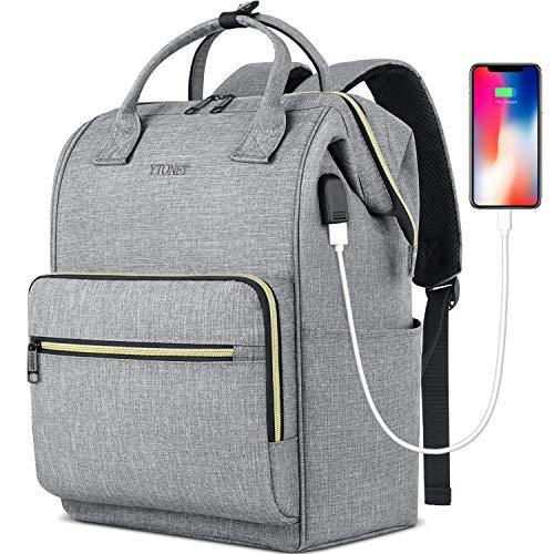 Laptop Backpack for Women Men, Travel Backpack for 15.6 Inch Laptop with RFID Pocket USB Charging Port, College School Backpack Bookbag Water Resistant Carry on Bag for Office/Teacher/Work,Grey