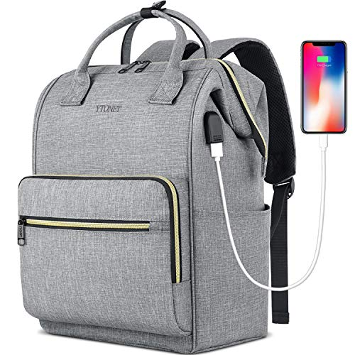 Laptop Backpack for Women Men, Travel Backpack for 15.6 Inch Laptop with RFID Pocket, USB Charging Port Water Resistant Durable Carry on Bag, Backpack Purse for Doctor Nurse Teacher Work, Grey