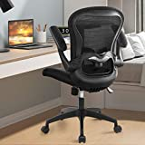 ComHoma Office Chair Ergonomic Desk Chair Mesh Computer Chair with Flip-up Arms Lumbar Support Rolling Swivel Adjustable Home Office Task Chair, Black