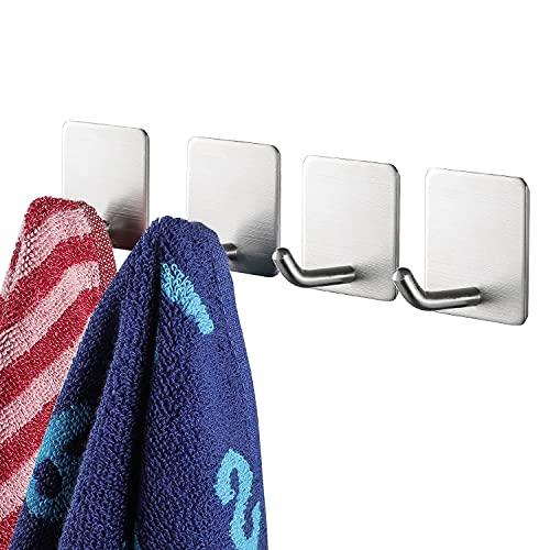 YIGII Towel Hooks/Bathroom Hook - Self Adhesive Hooks Office Hooks Hanging Keys for Kitchen Stick on Wall Stainless Steel 4 Packs