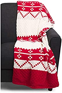 Well Dressed Home Decorative Woven Knit Decorative Holiday Throw Blanket Toss Red White Geometric Winter Nordic Pattern with a Faux Fur Back