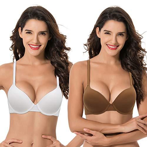 Curve Muse Women's Light Lift Add 1 Cup Push Up Underwire Convertible Tshirt Bra-2PK-WHITE,Tortoise SHELL-34DDD
