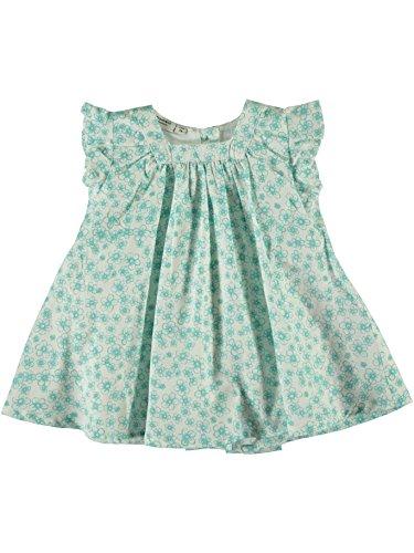 NAME IT Daisy Baby Blumen Kleid, Kurze Ärmel, A-Linie, Aqua Haze, Bio- Baumwolle, Kinder Mädchen Sommer-Kleid (80)