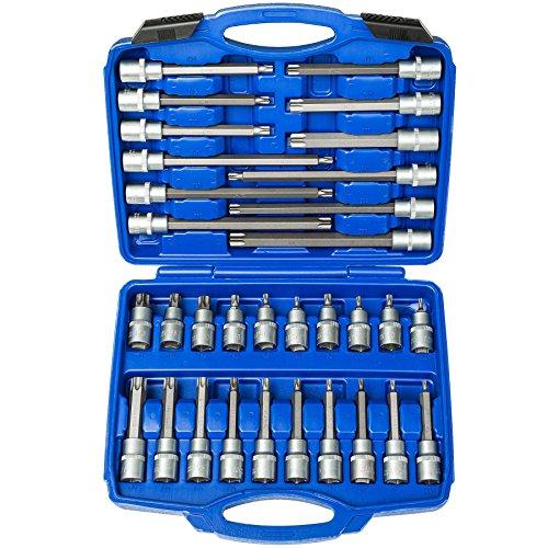 TecTake Steckschlüsselsatz Torx | Steckschlüssel mit Kodierung und Kugelfangrille| inkl. Koffer - verschiedene Modelle (Typ 7 | Nr. 402448)