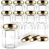 Gojars Tarros de cristal hexagonales de 3 onzas de calidad alimentaria, mini tarros con tapas para regalos, recuerdos de boda, miel, mermeladas y más. (12, 3 onzas)