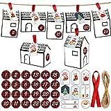 Luckxing Scatole Regalo Natale Set 24 scatole Calendario dell'Avvento Scatole cioccolatini casa dell'Avvento Natale Borse Calendario dell'Avvento, Forma DIY Una casa Scatola Caramelle Casa Bianca