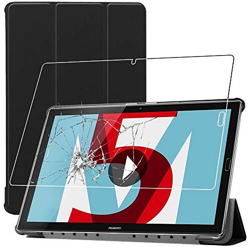 ebestStar - kompatibel mit Huawei MediaPad M5 10.8 Hülle Tablet 10.8 Smart Cover [Ultra Dünn] Schutzhülle Etui Ständer Hülle, Schwarz + Panzerglas Schutzfolie [M5 10.8: 258.7 x 171.8 x 7.3mm, 10.8'']