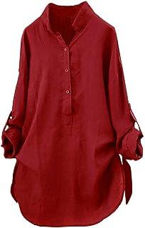 Lenfesh Camisetas Mujer Otoño Invierno de Hombro Blusa Mujer Tallas Grandes Camisas Manga Larga Elegante de Color sólido T...