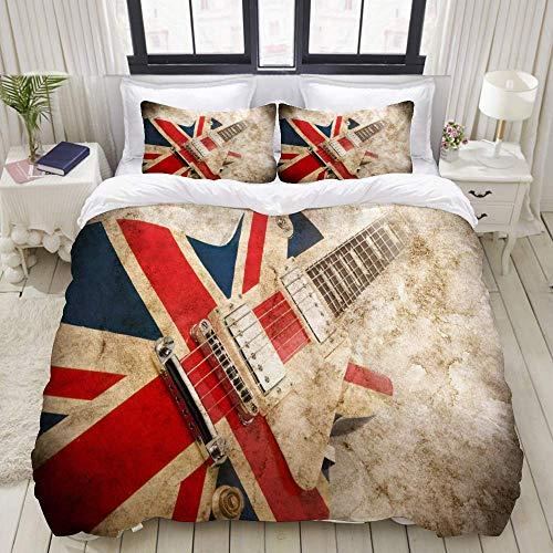 Juego de Funda nórdica, Guitarra Pop británica Grunge, Juego de Cama Decorativo Colorido de 3 Piezas con 2 Fundas de Almohada