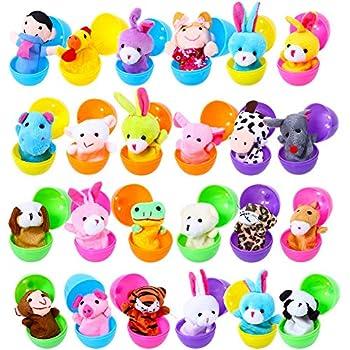 Acekid Easter Eggs Filled with Finger Puppets 24pcs Kids Plush Animal Finger Puppets Set Easter Theme Party Favor Easter Eggs Hunt Basket Stuffer Fillers for Boys & Girls
