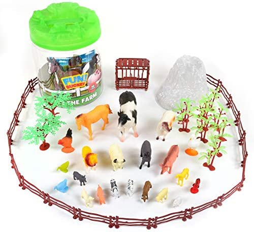 Sunny Days Entertainment Farm Animals Bucket 56 Piece Toy Play Set for Kids Horses and More product image