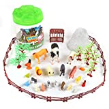Sunny Days Entertainment Farm Animals Bucket – 56 Piece Toy Play Set for Kids | Horses and More Plastic Figures Playset with Storage Bucket