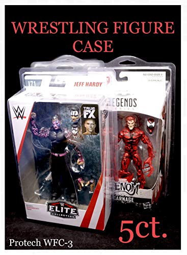 Protech WWE Elite Series Action Figure Protective Display Cases 5-Pack of Protectors ( Made to Protect Mattel WWE Elite Sized Packages Figures from Series 54+ & Also Fits Marvel Legends) WFC-3