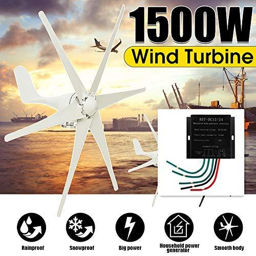 XDDWD Windenergieanlagen, 1500 W, 12 V / 24 V / 48 Volt, 6-Blatt + Controller-Windenergieanlagen, Horizontal Home Wind Generator Power Windmill Energy Turbines Charge,12v