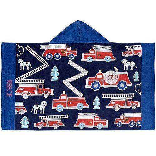 Mangeoo Children's cap and bath towel, baby cotton gauze cloak, beach cloak, bathrobe can be worn,Fire engine