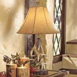 BLACK FOREST DECOR Faux Antler Table Lamp with Shade- Rustic Living Room or Home Decor