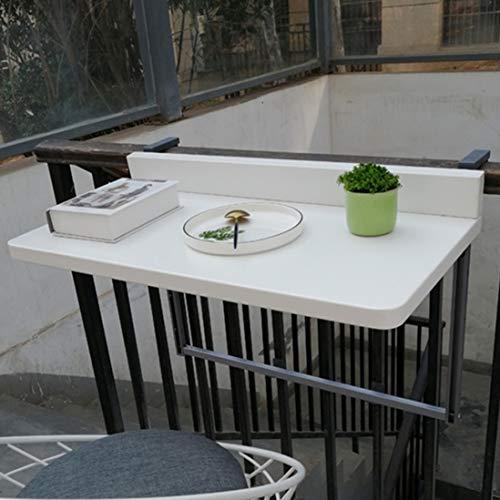 Balcon Table de balcon suspendue, Table Murale Rabattable métal 2 personnes à hauteur réglable(40 x 80 cm)