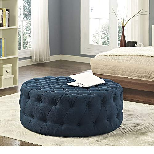HNU Traditional Wood Frame Soft Fabric Large Round Tufted Ottoman, Modern & Contemporary Charm Furniture Stool Coffee Side Table for Living Room, Best Cocktail Ottoman - Azure Blue