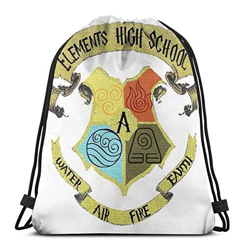 GOODNISHA Bolsas unisex con cordón Mochilas deportivas para gimnasio Bolsas de almacenamiento Goodie Cinch Elements High School