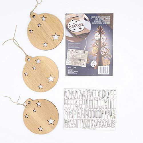 VINTIUN Bolas de Navidad Personalizadas con Nombre, Decoración Navideña Original para Arbol, Mesa, o Invitados (Madera, Pack 3)