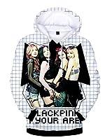 Asian Almighty Group Blackpink Hoodiesスウェットシャツ、カンガルーポケット付きルーズプルオーバージャンパー,白,Large