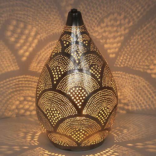 Casa Moro Orientalische Tischlampe marokkanische Stehlampe Alia-Samak-D20 Höhe 35cm Silber in Tropfenform | Echt versilberte Bodenleuchte aus Messing | Kunsthandwerk aus Marokko | ESL2190