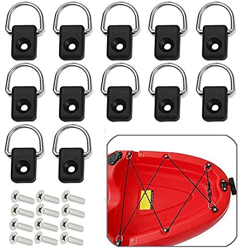 12Pcs Kayak D Anillos, Aparejo de Kayak, Anillos en D Accesorios para Kayak, Anillos en D para Kayak, Accesorios para Kayak de Bucle, con Tornillos M6 para Barco Canoa Kayak