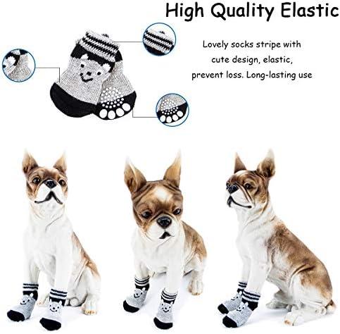 Vibury Chaussettes de Chien, Protection des Pattes pour Les Petits Chiens et Chats - Protège Les Pattes de l'Animal et Les sols intérieurs (S)