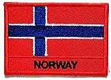 Nipitshop Patches Norway Flag Uniform Emblem Patches Norway Flag Symbol Jacket T-Shirt Patch Sew Iron on Embroidered Sign Badge Costume