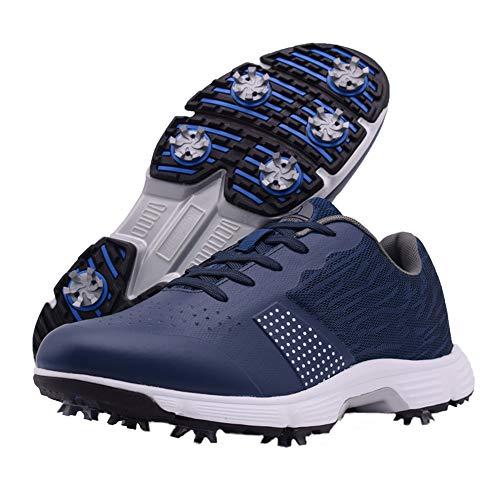 Zakey Professional Waterproof Golf Shoes Men Spikes Golf Sneakers Male Outdoor Anti Slip Walking Footwears (9,Blue)