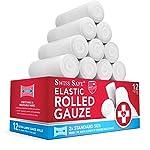 Elastic Stretch Gauze Rolls (6-Pack) - [ 2X Longer ] - Size: 4 inch x 8 Yards 15 Gauze Rolls