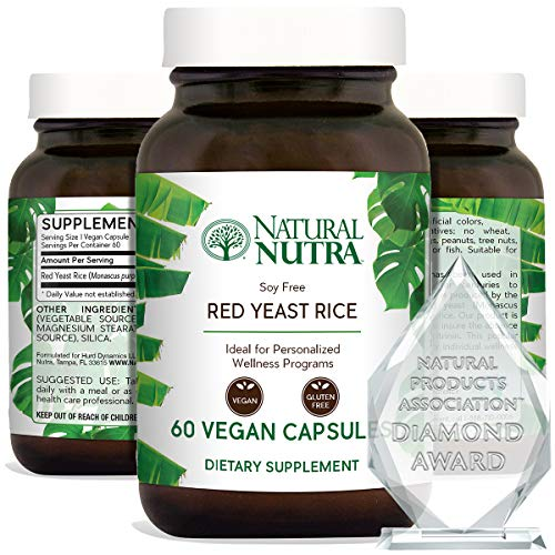 Natural Nutra Red Yeast Rice Extract with Monacolin K, Supplement for Cholesterol and Cardiovascular Support, Stress Relief, Citrinin Free, Gluten Free Supplements, 600 mg 60 Capsules